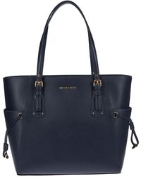 Michael Kors - Blue Leather Tote - Lyst