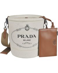 Prada Logo-print Canvas Bucket Bag - Natural