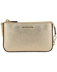 Michael Kors Gold Leather Pouch - Metallic