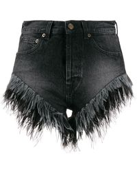 Saint Laurent SHORTS DENIM CON PIUME - Nero