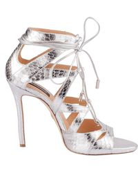 DSquared² Silver Leather Sandals - Metallic