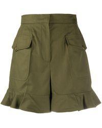Alexander McQueen High-waisted Ruffle Hem Shorts - Green
