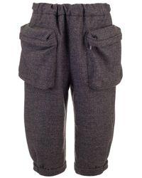 Miu Miu Grey Wool Pants - Gray