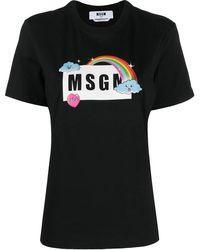 MSGM - T-Shirt mit Regenbogen-Logo - Lyst