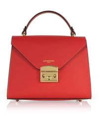 Le Parmentier Peggy Leather Top Handle Satchel Bag - Red