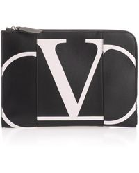 Valentino Black Leather Pouch