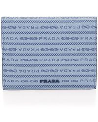 Prada Logo Leather French Wallet - Blue
