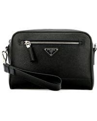 Prada Zipped Logo Plaque Clutch Bag - Black