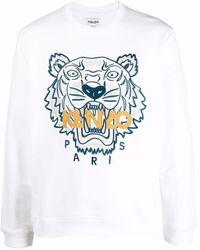 KENZO Sweatshirt mit Tigerstickerei - Weiß