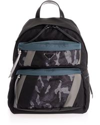 Prada Blue Synthetic Fibres Backpack