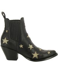 Mexicana Black/gold Leather Ankle Boots