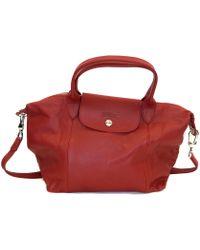 Longchamp Red Leather Shoulder Bag