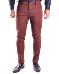 Dondup Burgundy Cotton Trousers - Red
