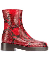 Marni Zip-up Ankle Boot - Red