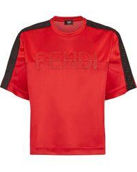 Fendi T-Shirt mit aufgesticktem Logo - Rot