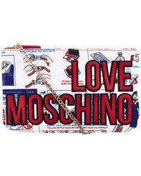 Love Moschino - White Fabric Clutch - Lyst