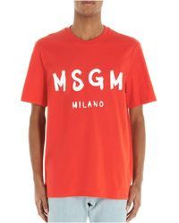 MSGM - ANDERE MATERIALIEN T-SHIRT - Lyst