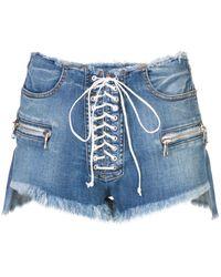 Unravel Project Destroyed Lace-up Denim Shorts - Blue