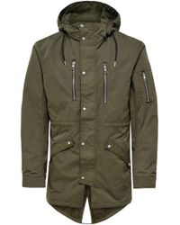 Only & Sons Green Polyester Coat