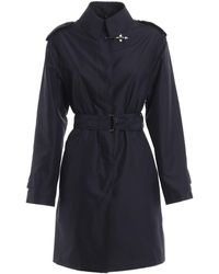 Fay Stretch Tech Fabric Trench Coat - Blue