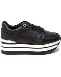 Guess - Black Polyurethane Sneakers - Lyst