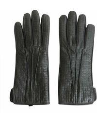 Trussardi Gray Leather Gloves
