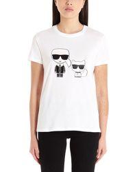 Karl Lagerfeld FRAUEN 20KW201W1705WEISS WEISS BAUMWOLLE T-SHIRT - Weiß