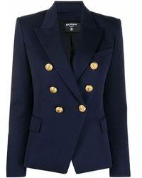 Balmain Double Breasted Grain De Poudre Jacket - Blue