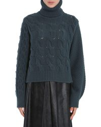 Maison Margiela Cable-knit Wool Blend Turtle Neck Sweater - Green