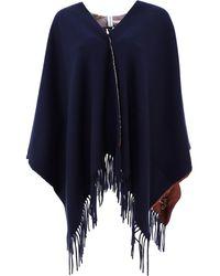 Ferragamo Wool Poncho - Blue