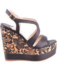 Paloma Barceló Black Leather Wedges