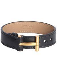Tom Ford Leather T Bracelet - Black