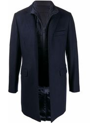 Fay Single-breasted Fitted Coat - Blue