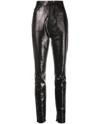 Saint Laurent Pantaloni a vita alta effetto pelle - Nero