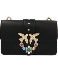 Pinko Black Leather Shoulder Bag