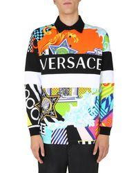 Versace Bedrucktes Polohemd mit langen Ärmeln Miami - Mehrfarbig