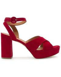 Via Roma 15 Suede Sandals - Red