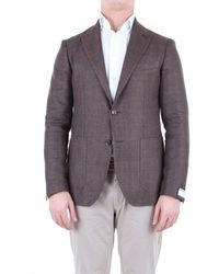 Tagliatore Brown Linen Blazer