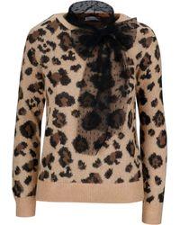 RED Valentino Leopard Print Neck Tie Jumper - Brown