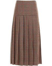 Prada Prince Of Wales Pleated Skirt - Brown