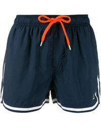 Sun 68 Contrast Trim Swim Shorts - Blue