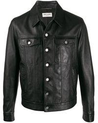 Saint Laurent Jacke im jeansjacken-style aus schwarzem glattleder mit knöpfen