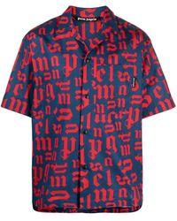Palm Angels Bowlinghemd mit Logo-Print - Blau