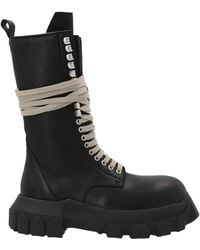 Rick Owens Leather Ankle Boots - Black