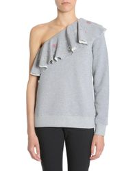 MSGM Embellished One-shoulder Sweatshirt - Gray