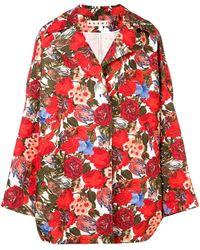 Marni Oversized Rose Print Coat - Red