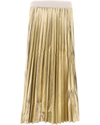 P.A.R.O.S.H. - Gold Polyester Skirt - Lyst