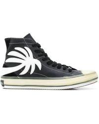Palm Angels Sneakers alte con applicazione palma - Nero