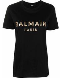 Balmain T-Shirt mit Logo-Print - Schwarz