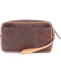 Etro Multicolour Faux Leather Beauty Case - Brown